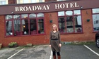 Helen Pidd outside the Broadway hotel in Blackpool