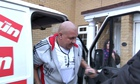 Dan Ware arriving home at his house in Rochester. It was pictured in a tweet by Emily Thornberry whi