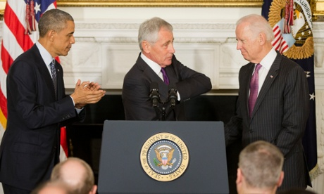 Hagel gave his warm thanks to Joe Biden.