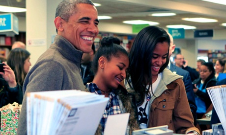 Barack Obama, Sasha and Malia