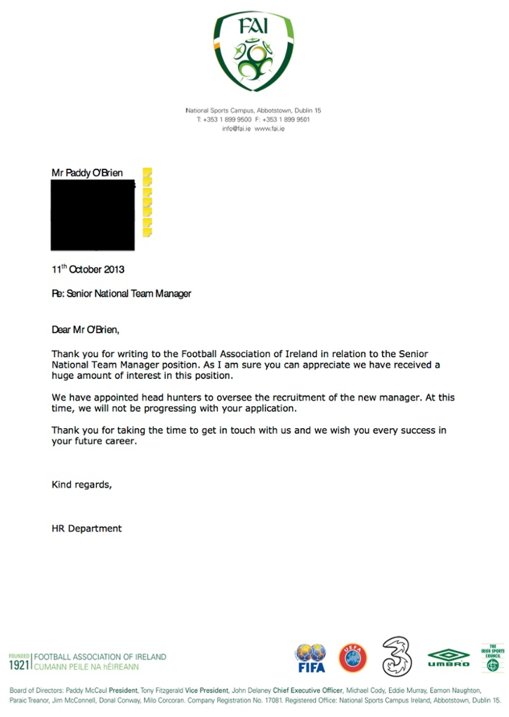 Fan Who Hilariously Applied For Ireland Managers Job