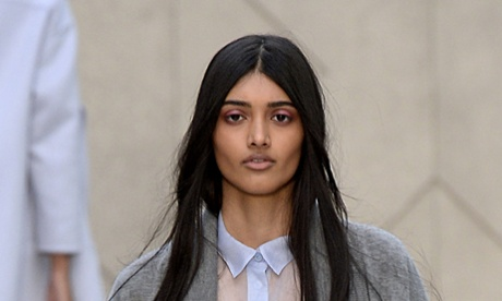 Neelam Gill (née Johal) walks the Burberry Prorsum spring/summer 201 with some seriously impressive eyebrows