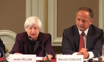 Janet Yellen in Paris, next to the ECB's Benoit Coeure