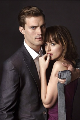 Jamie Dornan and Dakota Johnson in the film of Fifty Shades of Grey.