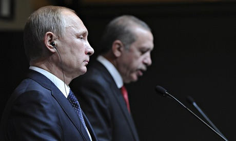 Russia's President Vladimir Putin, left, and his Turkish counterpart, Recep Tayyip Erdoğan, at the controversial new palace in Ankara.