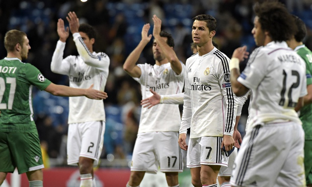 Real Madrid players celebrate after beating Ludogorets Razgrad 4-0, their 19th win in a row, a new Spanish record.