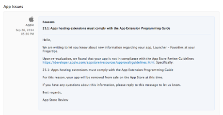 Apple's non-compliance notice for Launcher.