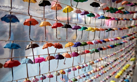 Small paper umbrellas -- symbols of the