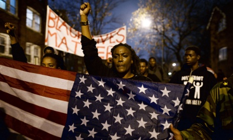 Demonstrators protest against the death of Michael Brown, St Louis, November 2014.