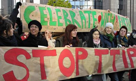 Activistsin Belgium protest against TTIP