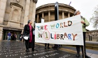 Demonstrators at Liverpool's Central library