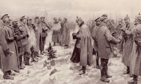 The Christmas truce, 1914: German and British troops fraternising on the western front. Illustration