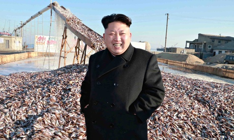 North Korean leader Kim Jong-un touring a military fisheries processing factory: he's no joke.  Phot