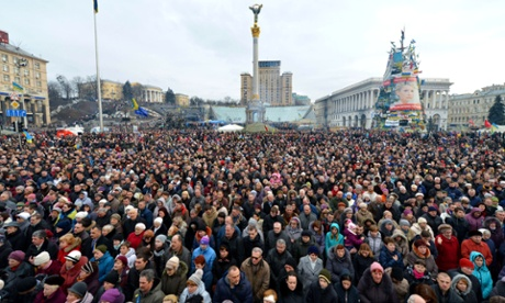Protests at Maidan Square in Kiev in February.