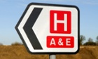 Hospital direction road sign