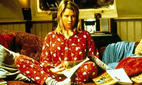 Bridget Jones in festive pyjamas