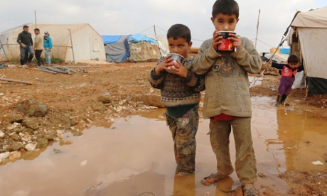 Displaced Syrian children in the Bab Al-Salama camp for people fleeing the violence in Syria on the border with Turkey.