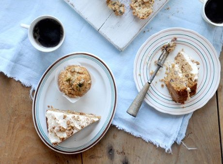 Nutty, wholesome, sweet and delicious: a carot cake made with sweet potato, with a cream-cheese icing; and wholemeal seeded breakfast muffins.