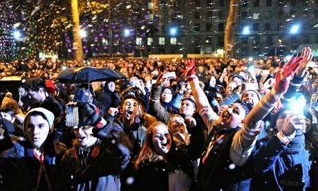 New Year's Eve revellers in central London in 2013