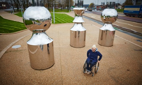 Ryan Gander with his public artwork in Manchester called Dad's Halo Effect.