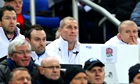 England's Stuart Lancaster flanked by his coaching team during the Six Nations match against France