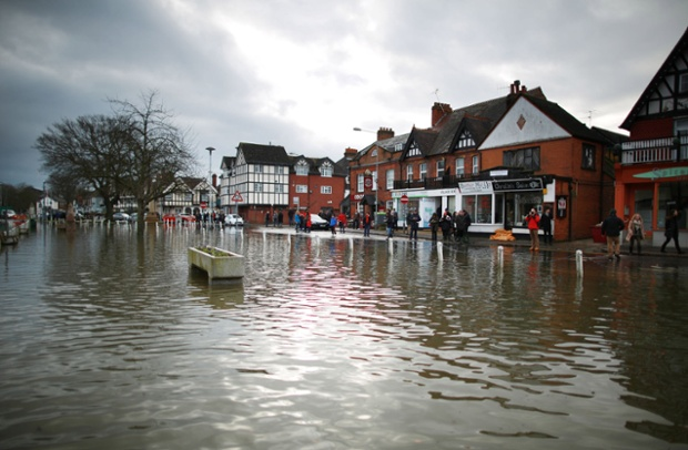 Flood water continues to rise after the Thames burst it's banks in Datchet, Berkshire.