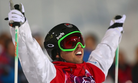 Alex Bilodeau of Canada during the freestyle skiing men's moguls competition at the 2014 Winter Olympics.