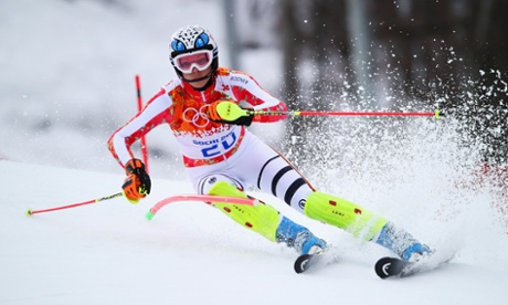 Maria Hoefl-Riesch of Germany in action during the alpine skiing women's super combined slalom at the Sochi 2014 Winter Olympics.