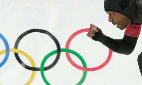 Shani Davis of the U.S. competes in the second heat of the men's 500-meter speedskating race.