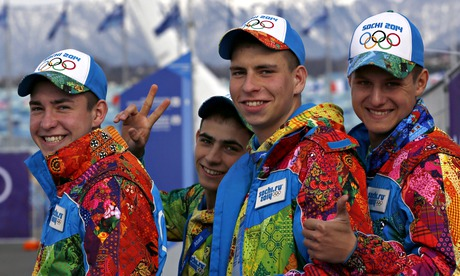 Volunteers in their rainbow colored Sochi Winter Olympic outfits