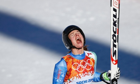 Slovenia's Tina Maze reacts after the women's alpine skiing downhill event