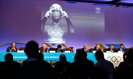 An image of Georgian luger Nodar Kumaritashvili is displayed during a moment of remembrance in Sochi