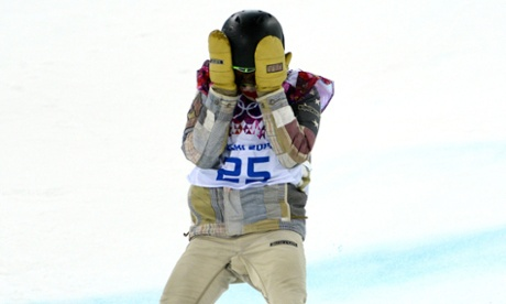 Shaun White competing in the men's Snowboard Half Pipe yesterday