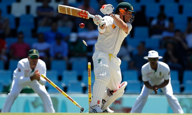 Australia's David Warner is bowled out by South Africa's Dale Steyn.
