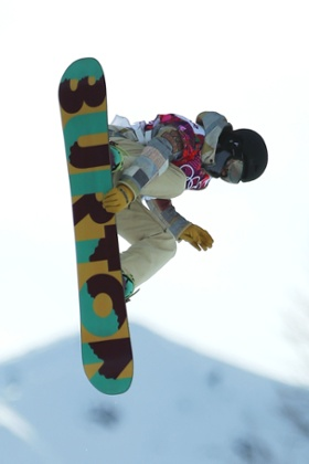 Kelly Clark of the United States competes in the Snowboard Women's Halfpipe Qualification Heats