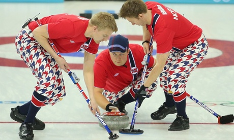 Haavard Vad Petersson, Christoffer Svae and Torger Nergaard of Norway compete in the Curling Men's Round Robin match between Norway and Germany during day five of the Sochi 2014 Winter Olympics