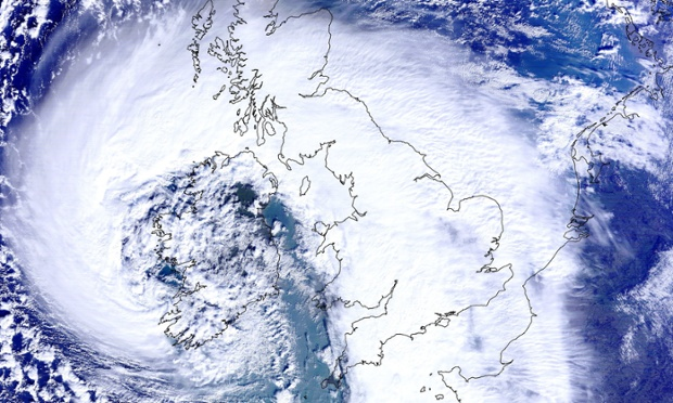 Satellite image issued by the University of Dundee that shows the scale of the storm that hit Britain and Ireland on February 12.