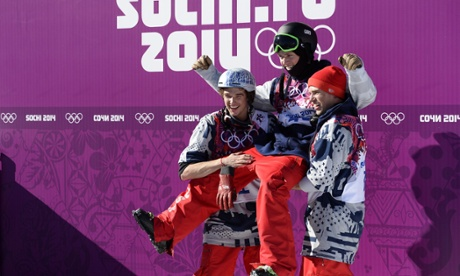 USA's Nicholas Goepper, Joss Christensen and Gus Kenworthy celebrate sweeping the podium in the men's freestyle skiingsSlopestyle finals at the Rosa Khutor Extreme Park during the Sochi Winter Olympics on February 13, 2014.