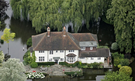 A riverside house is cut off from land near Henley on Thames