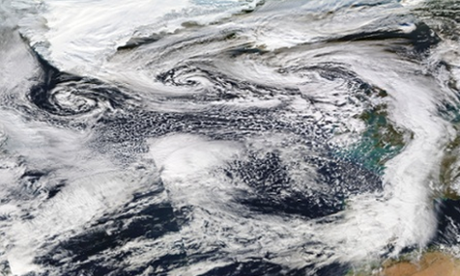 Composite satellite images from Nasa show three storms approaching the British Isles.