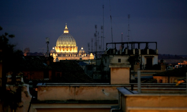 Saint Peter's Basilica shines out above the Rome skyline.
