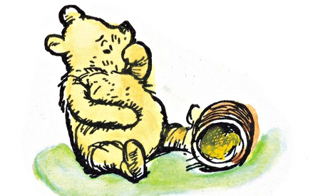 Winnie-the-Pooh eating honey