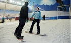 Zoe Williams learning to snowboard, at the Snow Centre in Hemel Hempstead