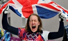 Lizzy Yarnold celebrates winning gold in the women's skeleton at the 2014 Sochi Olympic Games
