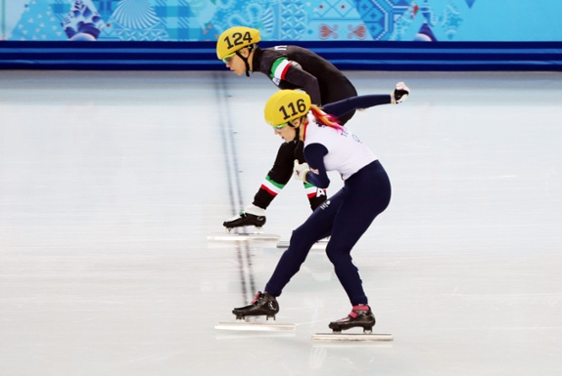 Heartbreak for Elise Christie, as she's eliminated from her second event at the games during the women's 1500m short track. She crossed the line with her skate 1cm outside the finishing line, leading to a disqualification.