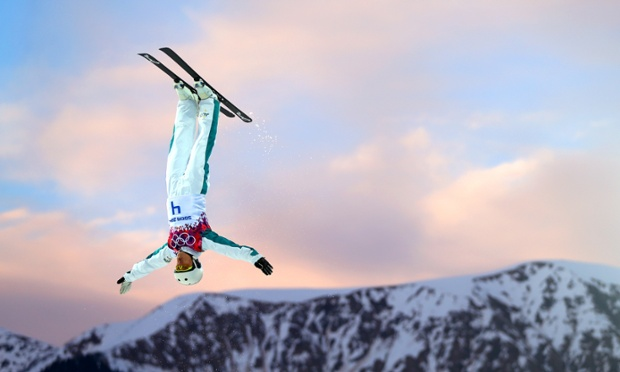 Lydia Lassila of Australia competes in the freestyle skiing ladies' aerials.