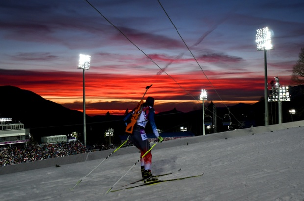 In-Bok Lee of Korea competes in the men's individual 20km during day six of the Sochi 2014 Winter Olympics.