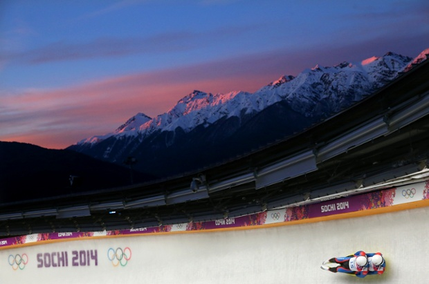Marek Solcansky and Karol Stuchlak of Slovakia make a run during the men's luge doubles on Day 5 of the Sochi 2014 Winter Olympics.