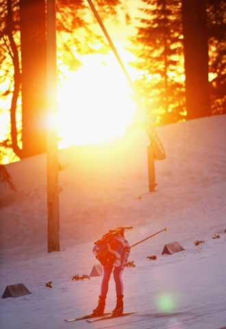Dominik Windisch of Italy competes during the men's 20km individual biathlon.