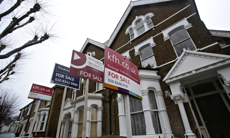 For-sale signs outside houses in Finsbury Park, north London
